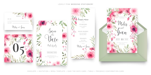 Lovely wedding stationery collection Free Vector