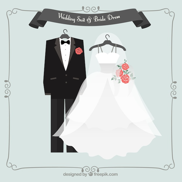 Lovely wedding suit and bride dress Free Vector