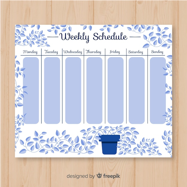 Lovely weekly schedule template with floral style Free Vector