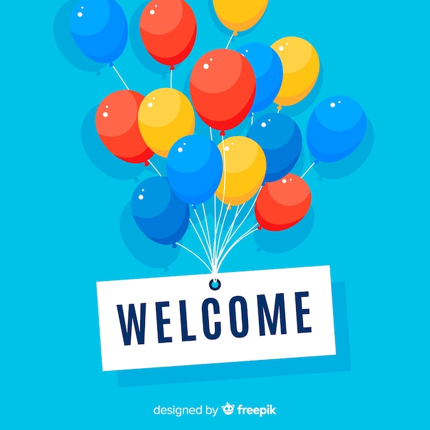 Lovely welcome composition with flat design Free Vector