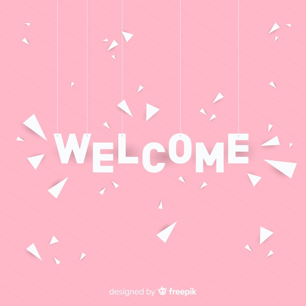 Lovely welcome composition with origami style Free Vector