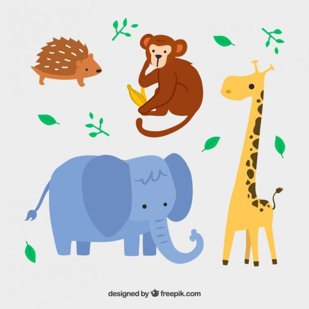 Lovely wild animals in childish style