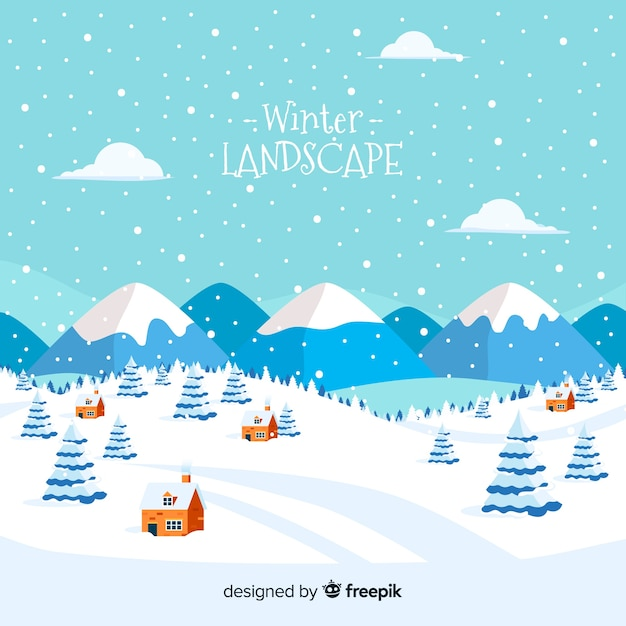 Lovely winter landscape with flat design Free Vector