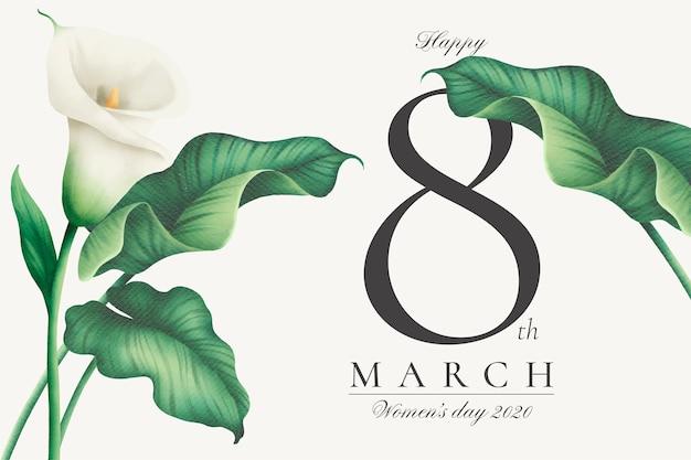 Прекрасный женский день фон с белыми лилиями Бесплатные векторы