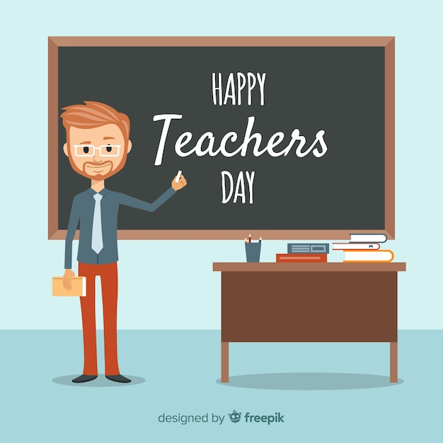 Lovely world teachers day composition with flat design Free Vector