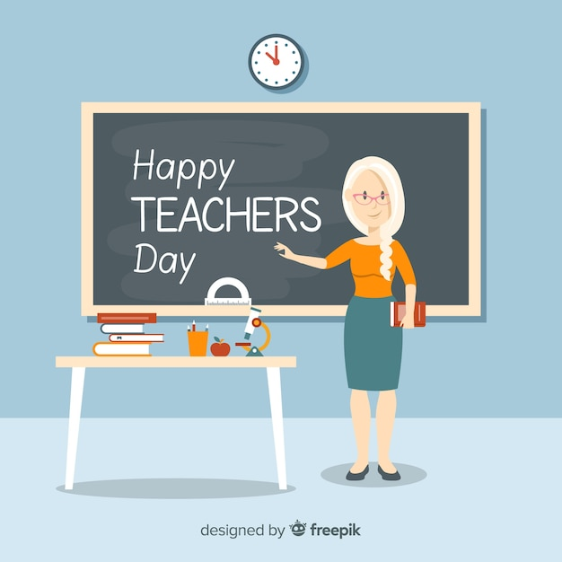 Lovely world teachers day composition with flat\ design