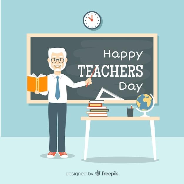 Прекрасная композиция дневного учителя мира с плоским дизайном Бесплатные векторы