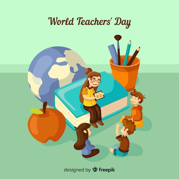 Lovely world teachers day composition with flat design Vector | Free