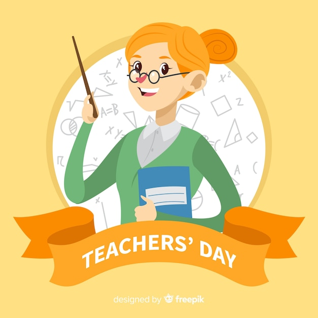 Book Icon Vector Male Student Or Teacher Person Profile: Lovely World Teachers' Day Composition With Flat Design