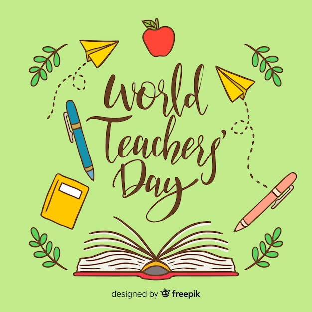 Lovely world teachers' day composition with hand drawn style Free Vector