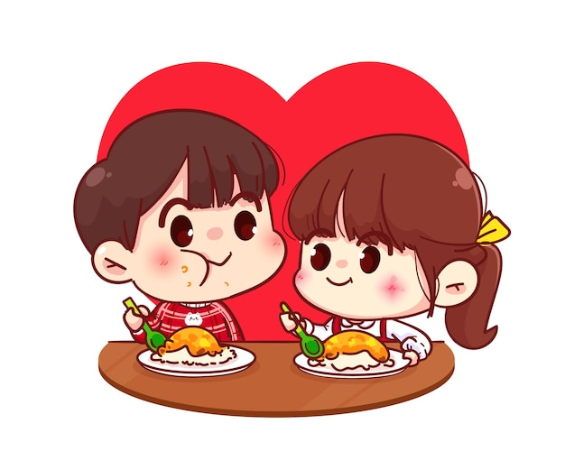 Lovers couple eating together, happy valentine, cartoon character illustration Free Vector