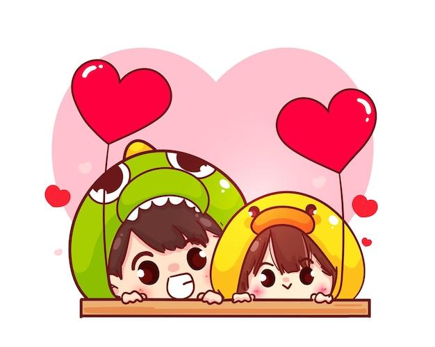 Lovers couple holding heart shaped balloon, happy valentine, cartoon character illustration Free Vector
