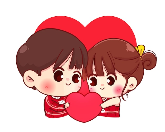 Lovers couple holding read heart together, happy valentine, cartoon character illustration Free Vector