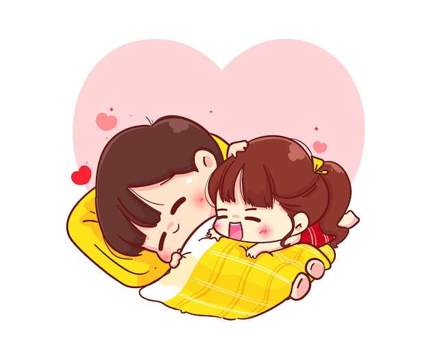 Lovers couple hugging on blanket, happy valentine, cartoon character illustration Premium Vector
