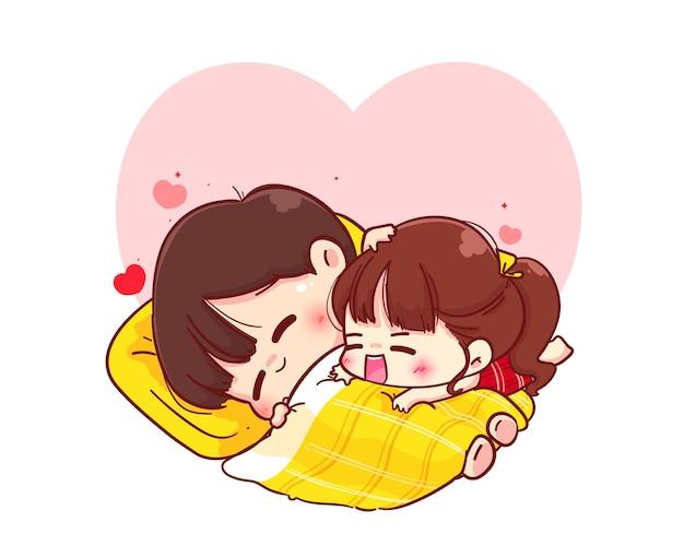 Влюбленная пара обнимается на одеяле, счастливого валентина, мультипликационный персонаж иллюстрации Premium векторы