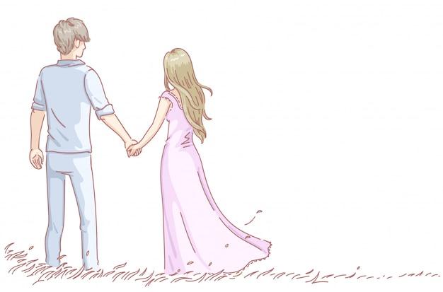 ロマンチックなデートを持っている愛の恋人のカップル。男と女の背面図。バレンタイン・デー。 Premiumベクター