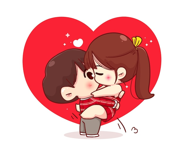 Lovers couple kissing, happy valentine, cartoon character illustration Free Vector