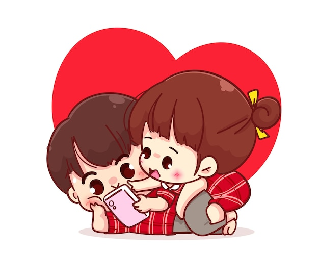 Lovers couple looking at the smartphone together, cartoon character illustration Premium Vector