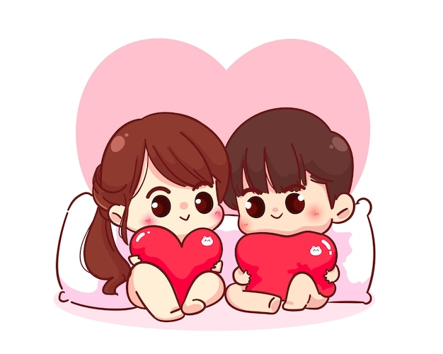 Lovers couple sitting with a pillow heart shaped, happy valentine, cartoon character illustration Premium Vector