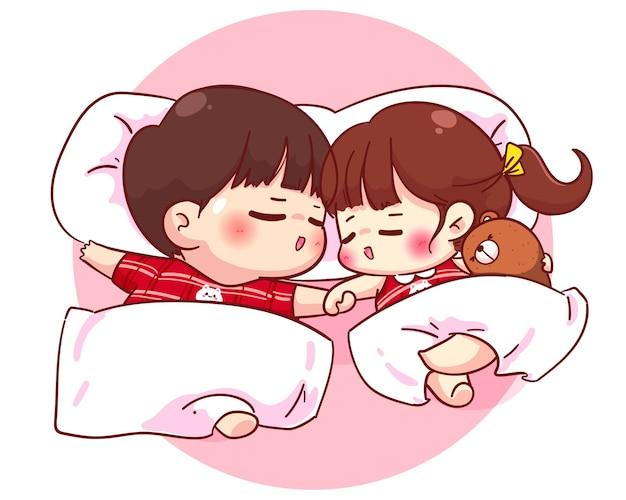 Lovers couple sleeping together, cartoon character illustration Premium Vector