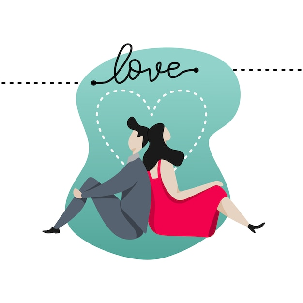 Lovers fall in love banner for valentine's day card Premium Vector