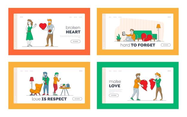Набор шаблонов целевой страницы для влюбленных в конце любовных отношений Premium векторы