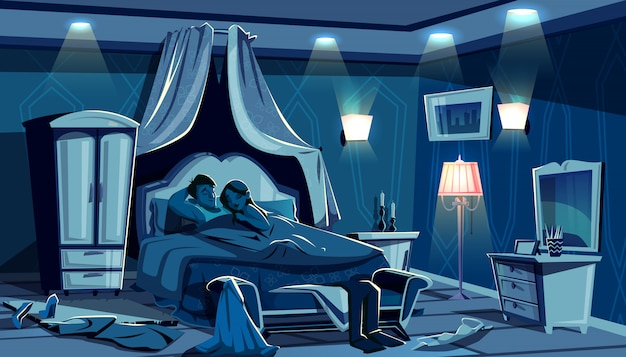 Lovers sleep in bed illustration of night bedroom with scattered clothes in passion hurry. Free Vector