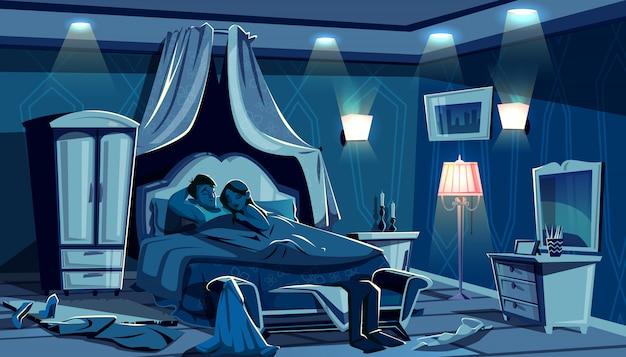Влюбленные спать в постели иллюстрация ночь спальня с разбросанной одежды в страсти спешить. Бесплатные векторы