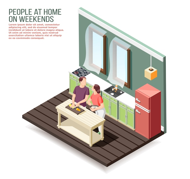 Loving couple at home in kitchen during cooking dinner at weekend isometric composition Free Vector