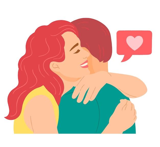 愛するカップルの抱擁 Premiumベクター