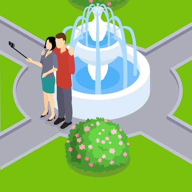 Влюбленная пара, делая изометрические макет селфи Premium векторы