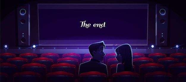 Loving couple in movie theater Free Vector