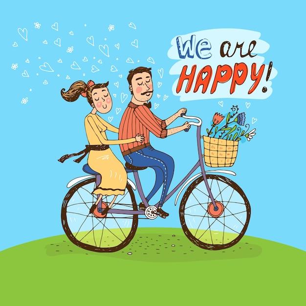 Coppia di innamorati in sella a una bicicletta su una verde collina con cuori che galleggiano nell'aria e fiori nel cesto e le parole Vettore gratuito