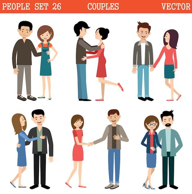 Loving couples. men and women. vector Premium Vector
