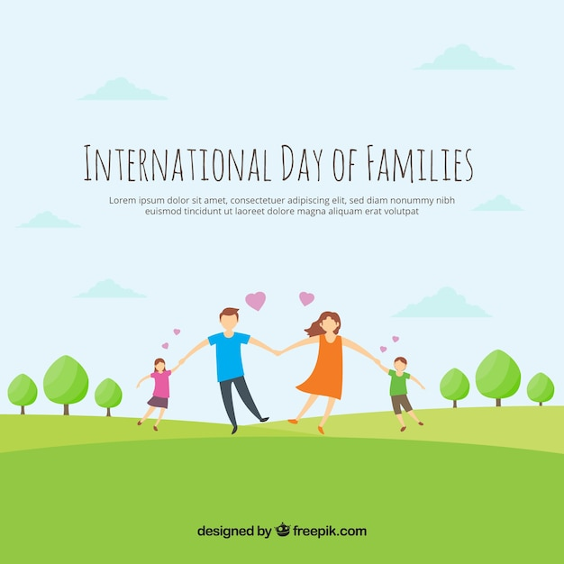 Loving family background in the field Free Vector