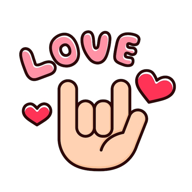 Loving fingers with hearts. Premium Vector