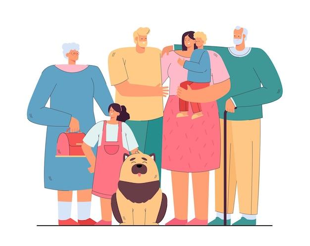 함께 고립 된 평면 그림 서 사랑하는 행복 한 큰 가족 무료 벡터