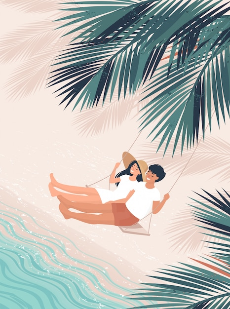Loving man and woman swing on a swing bench under coconut palm by the sea Premium Vector