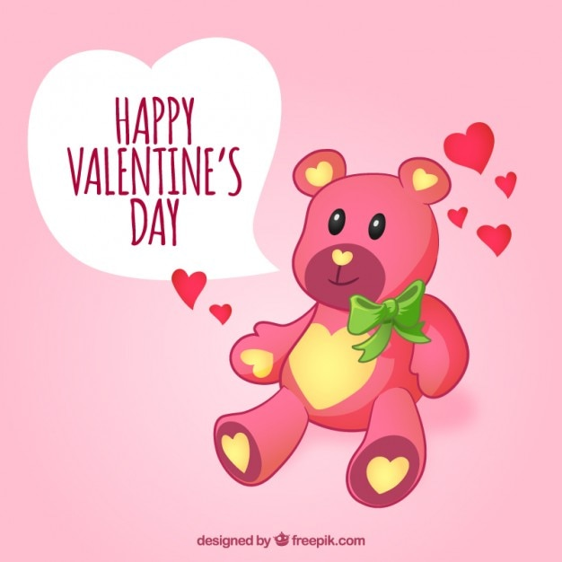 Loving teddy bear wishes you a happy valentine day Vector ...