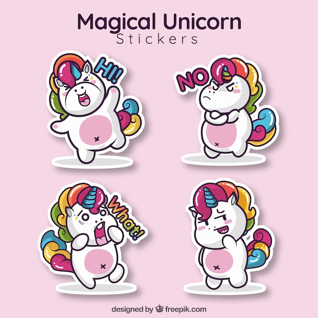 Lovley unicorn sticker collection free vector