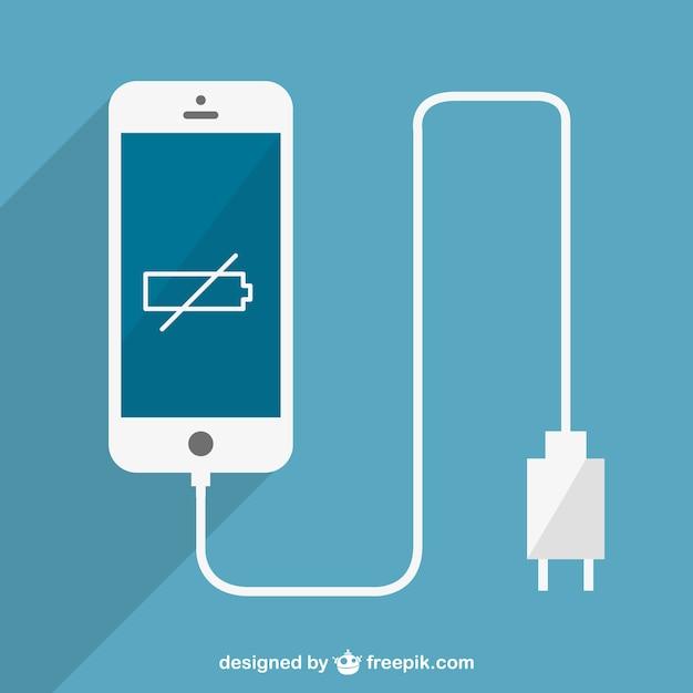 Low batter smartphone charging vector Free Vector