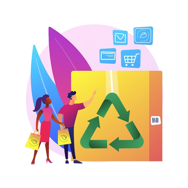 Low impact packaging abstract concept   illustration. sustainable shipping box, innovative packaging materials, ecommerce, eco friendly, recyclable container, zero waste Free Vector