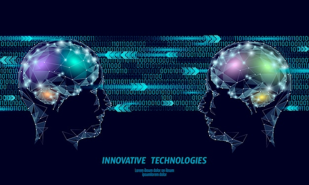 Low poly abstract brain virtual reality concept. Premium Vector