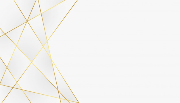 Low poly abstract white and golden lines background Free Vector