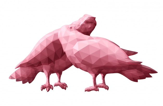 Low poly art with pink pigeons silhouettes Premium Vector