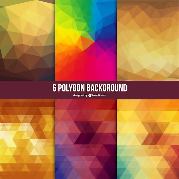 Low poly backgrounds set Free Vector