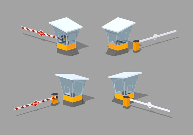 Low poly barrier and toll booth Premium Vector