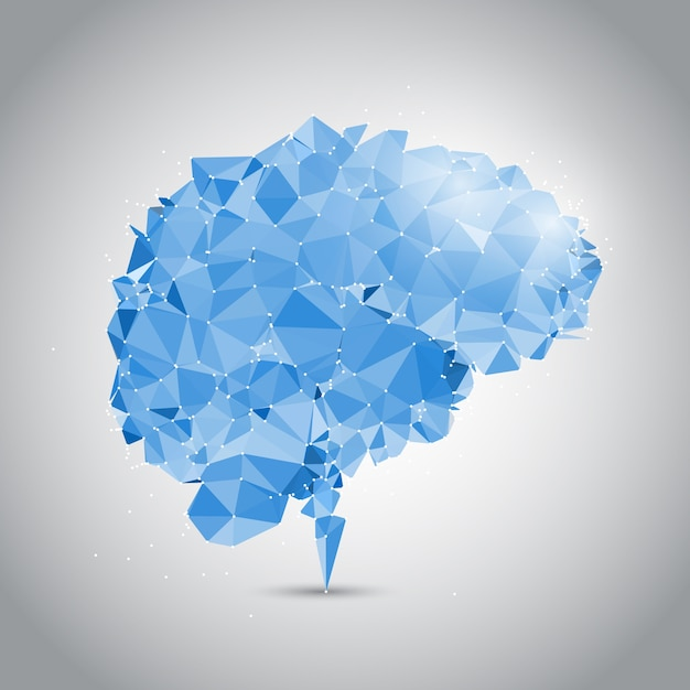 Low poly brain design with connecting dots Free Vector