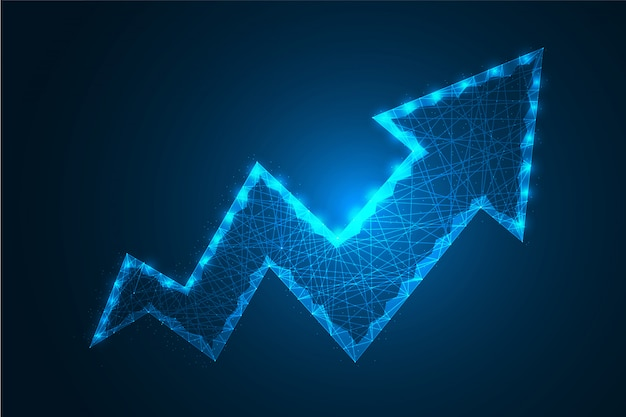 Low poly business growth arrow dot and line with polygonal wire frame mesh   illustration Premium Vector