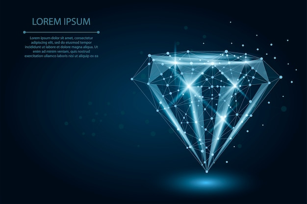 Low poly diamond consisting of points and lines Premium Vector